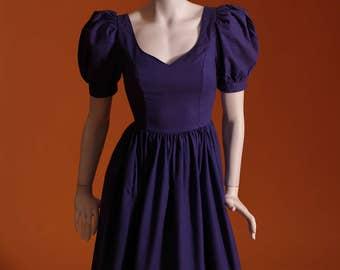 Vintage 1980s Laura Ashley Puff Sleeve Party Dress. UK Size 6.