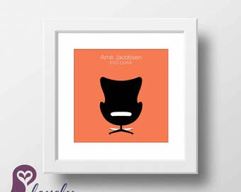 Egg Chair | Arne Jacobsen | Chair | Interior Design | Designer | Wall Decor | Home Decor | Prints | Poster | Digital Paper | Minimalist