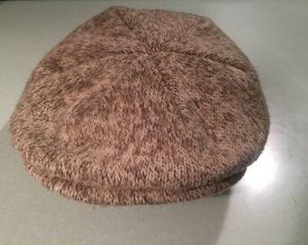 Vintage Tan Brown Grey Knit Wool Motering Messenger Cap Hat Large