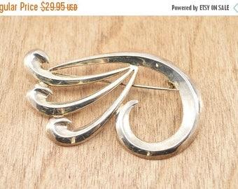On Sale Abstract Swirling Fan Pin / Brooch Sterling Silver 8.3g