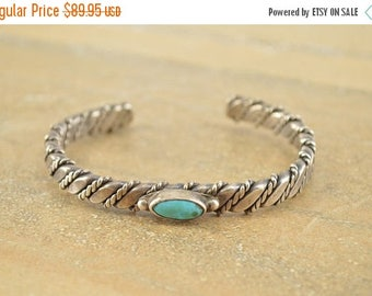 On Sale Native American Style Turquoise Rope Spiral Cuff Bracelet Sterling Silver 29.1g