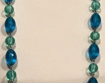 Aqua blue Lucite necklace