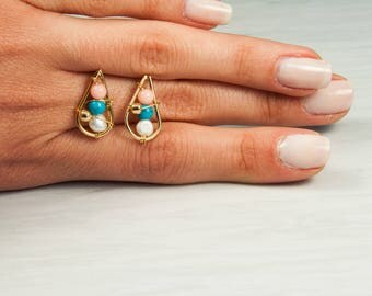 Pearl Earrings, Drop Shaped, Gold Fill Earrings, 14K, Freshwater Pearls, Rice Shaped, Pink and Blue little stones, June birthstone