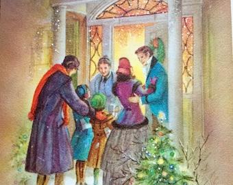 Vintage Christmas Card Glitter Victorian Family Home Mid Century Nostalgia 1964 Original Postmarked Envelope 4 Cent Lincoln Stamp Ephemera