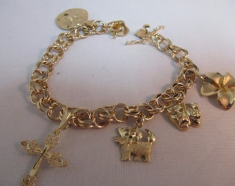 "14K Solid Gold Double Circle Link Charm Bracelet and 5 Charms 7.5""L  #698"
