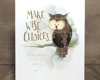 Children's owl art print, nursery art, kid character trait, honesty