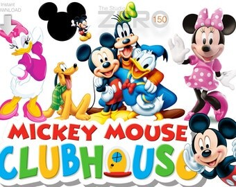150 Disney Junior, Mickey Mouse Club House Clipart, 300DPI PNG, Instant Download, Printable Iron On Transfer, Mickey Clubhouse Clipart