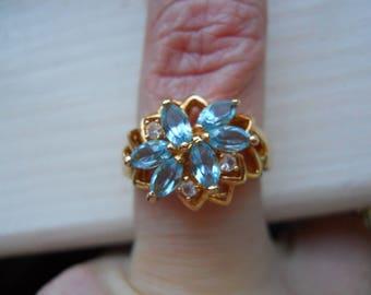 vintage 14K HGE ESPO LIND costume ring faux aquamarine diamond size 7 3/4