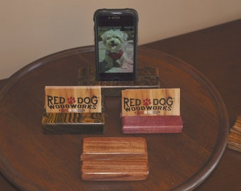 Business card, Tablet, cell phone holder, stand. Solid hard and exotic woods. Free shipping
