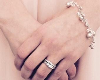 Pearl and crystal cluster bracelet, Bridal bracelet