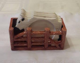 Cute Kitsch Ceramic Cow in Coral Coaster set
