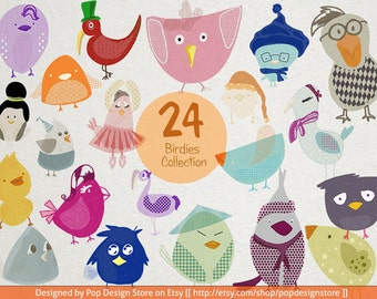 SALE 24 Birds Cute Handmade Collection Cliparts PNG Transparent Pencil Crayon Effect with Texture for Children Illustration Drawings