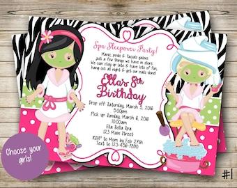 Spa Sleepover Party Digital Invitation CHOOSE YOUR GIRLS