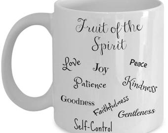 Fruit of the Spirit Christian Coffee Mugs and Gifts for Women Men Mom Dad Him Her Inspirational Mothers Father's Day Christmas Birthday Gift