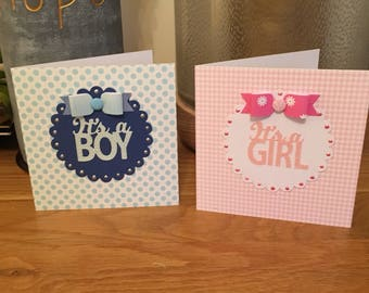 Set of 2 Handmade New Baby Cards
