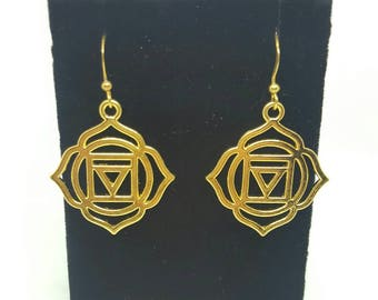 Muladhara root chakra first chakra hook earrings / yoga / meditation / wicca / safety, security + physical connection / gift for her