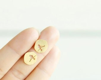 Birds - plate earrings 18 K gold, silver plated - Chic, jewelry gift, minimalist S079-40% off