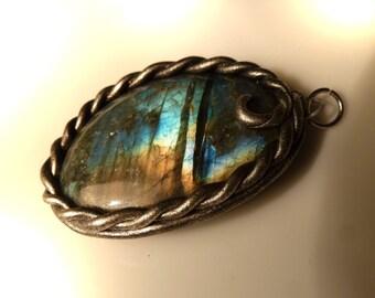 Labradorite pendant with Labradorite, 42mm, pendant, polymer clay