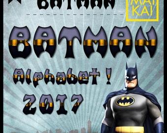 Batman digital alphabet, Batman clip art, Batman letters, batman invitation, superhero birthday, alphabet letters, digital font.