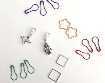 A Selection of 15 Stitch Markers, Removable Stitch Markers, Coil-less Pins,