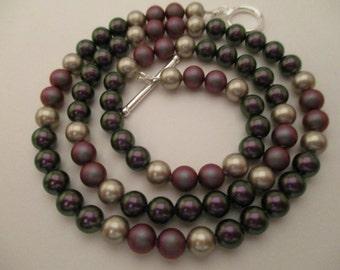 Purple Iridescent Classy Dressy Swarovski Crystal Necklace, Evening Wear Jewelry, Natural Elements Jewelry