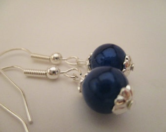 Blue Glass Bead Earrings, Mothers Day