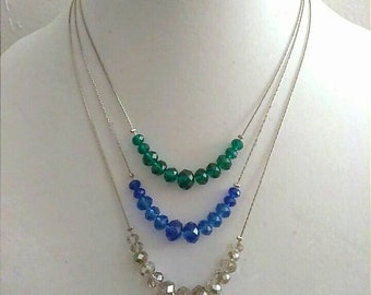 Blue Green Clear Beaded Necklace, Illusion Necklace, Multi Strand Necklace, Floating Necklace, Beaded Necklace, Accessories, Boutique