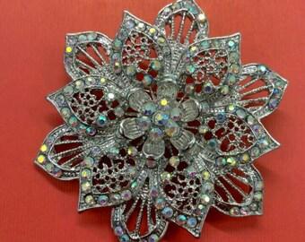 Vintage Clear Rhinestone AB Brooch, Crystal Brooch AB Navette Glamour Brooch, Aurora Borealis Brooch, Mid Century Brooches