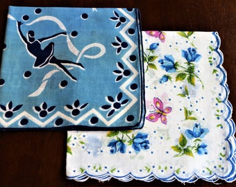Pair of Blue Vintage Handkerchiefs, Blue Hankies, Dancing Scenes, Ballet Dancer, Butterflies and Flowers, Blue Hanky, Vintage Linens
