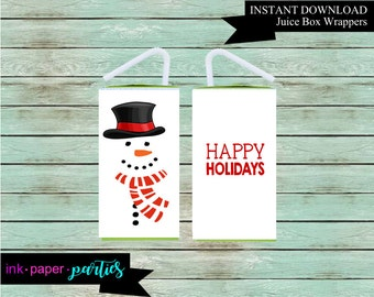 Printable Christmas Holiday Snowman Juice Box Wrappers Party Favors Favor Labels Digital File Instant Download