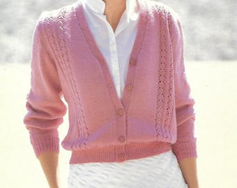 knitting pattern, women's ladies lace knit cardigan, sizes 30-44 inch, 4 ply, pdf