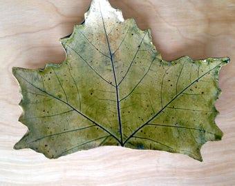 Rustic Green Ceramic Leaf Dish - Soap Dish - Spoon Rest - Candle Holder- Maple Leaf