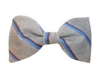 Chartres Bowtie - J&T Bowties With Attitude - grey and bleu men bow tie for ceremony, wedding, groom and groomsmen, groomsman or casual look