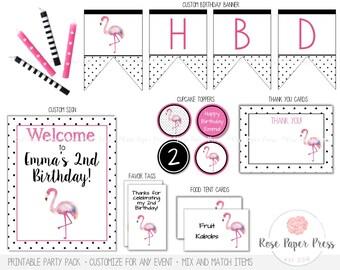 Flamingo Party Decor | Printable Party Decorations | Flamingo Banner | Tropical Party Decor | Flamingo Decor | Party Decorations, Supplies