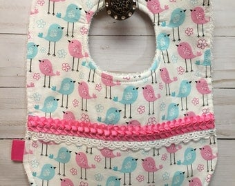 Baby Girl Bib with Little Song Birds