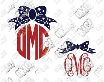 Monogram Bow With Stars Fourth of July Memorial Day svg dxf eps jpeg format layered cutting files decal cricut silhouette