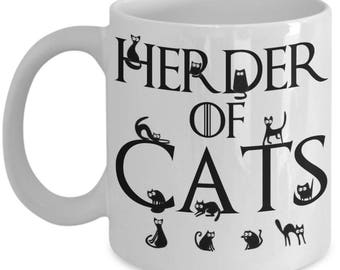 Cat Mugs - Herder Of Cats - Funny Cat Lover Gifts