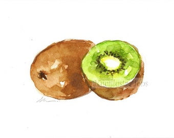 ORIGINAL Kiwi Fruit Watercolor Painting Food Illustration Kitchen Art Hand Painted 5x7