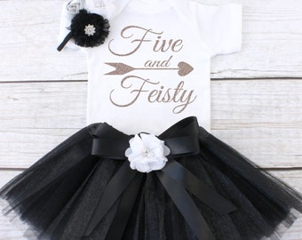 Five and Feisty. Girls Birthday Tutu Outfit. Five Year Old Birthday Outfit. Birthday Outfit 5. Fifth Birthday Outfit. T04 5BD (BLACK)
