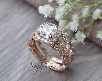 Set of 3, Cushion Cut Ring with Art Deco bands 14 Karat Rose Gold, Made to Order, Stacking Rings, Engagement Set, Wedding Rings by Sapheena