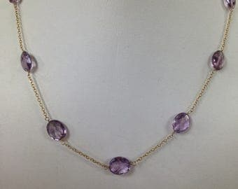 Amethyst Necklace, Hand-Made Necklace, Oval Shaped Amethyst Necklace