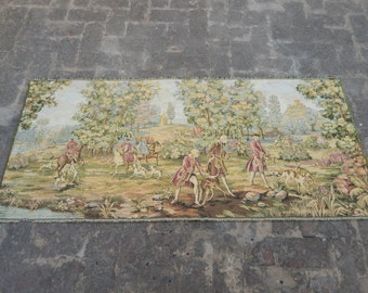 Vintage French Beautiful Hunting Tapestry 038