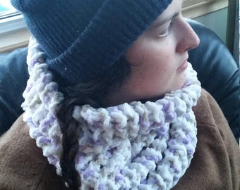 NECKWARMER, COWL, handknit, white with lilac accents