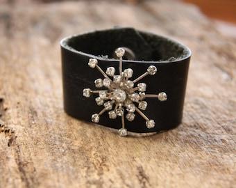 Leather Cuff Bracelet, Vintage Brooch Bracelet, Vintage Bracelet, Women's Cuff Bracelet