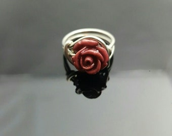 HANDMADE Purple-Plum Rose Sterling Silver Wire Ring