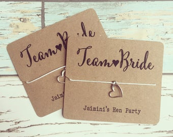 Hen party favour - Team Bride bracelet - wish bracelet, heart