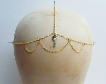 Teal Blue Agate Festival Boho Head Chain