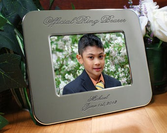 Personalized Engraved Ring Bearer Silver Picture Frame Custom Name Gift