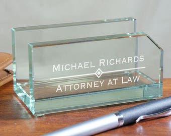 Personalized Glass Business Card Holder Custom Name Gift