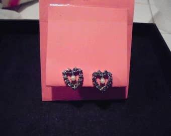 Lovely Vintage Blue rhinestone/crystal Heart Earrings non-pierced